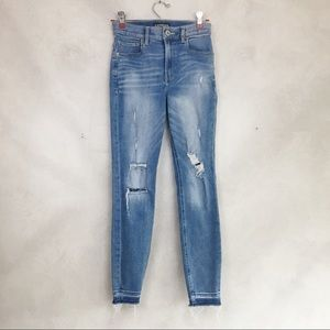 Express Outlet High Rise Distressed Cropped Jeans